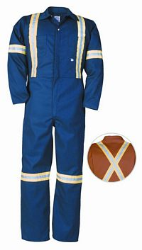 Twill Work Deluxe Coverall with Reflective Tape (429BF)